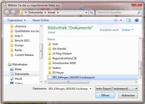 Wählen Sie die zuvor exportierte Datei aus